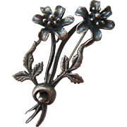 Vintage Sterling Silver 925 Floral Brooch Pin Heavy Patina