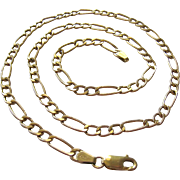 10K Gold Figaro Link Necklace 20 Inches Italy