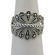 Sterling Silver 925 Marcasite Open Work Ring