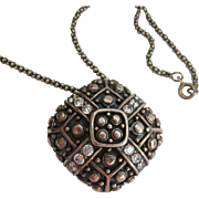 Interesting Sterling Silver 925 Pendant Slide with Clear Stones on 925 Caviar Chain Necklace