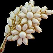 Large Crown Trifari White Milk Glass Flower Brooch Layered