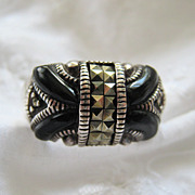 Sterling 925 Marcasite Black Ring Deco Design Lots of Style