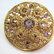 Czech Gilt Filigree Cannetille Brooch Lavender Stones Trombone Clasp