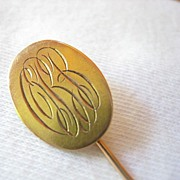 Vintage 10K Yellow Gold Stick Pin Engraved Initials