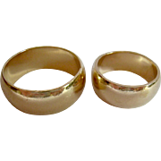 Pair His Hers 14K Gold Wide Wedding Bands 14.3 Grams