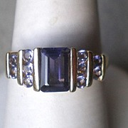 Beautiful 14k Gold Iolite and Amethyst Ring