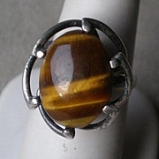 Stunning Early Taxco Sterling Silver w/ Tiger Eye Ring
