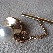 Wonderful 14k Gold w/ Pearl Tie Tac