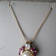Stunning 14k Gold Pendant with Pearl, Rubies, Diamonds