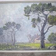 "Original California Artist ""Margaret Morrish"" (1893-1975) Misty Field Oil Painting"