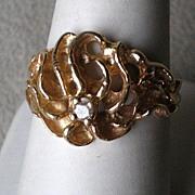 Fabulous Asymmetrical 14k Gold with Diamond Ring