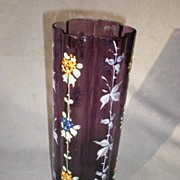 Gorgeous Bohemian Amethyst Glass Vase with Enamel Flowers