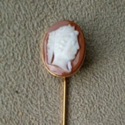 Beautiful 10k Gold Hard Stone Carnelian Cameo Stick Pin