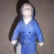 Charming Royal Copenhagen Figurine - Boy with Umbrella
