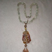 Stunning Carved Jade Bead Necklace with Highly Carved Pendant