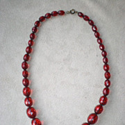 Beautiful Faceted Cherry Amber Bakelite Graduated Necklace