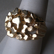 Magnificent 14k Gold Nugget Style Mens Ring