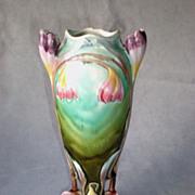 SALE PENDING Beautiful Vintage Majolica Art Nouveau Vase