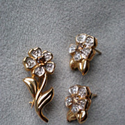 Gorgeous 14k Gold and Smokey Quartz Flower Pin & Earrings