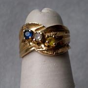 Wonderful 14k Gold Mothers Ring - Sapphire, Diamond, Citrine