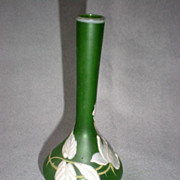 Gorgeous Vintage Green Glass Bud Vase with Enamel Flowers