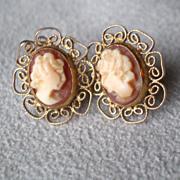 Fabulous Pair 14k Gold Shell Cameo Earrings