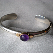 SOLD Beautiful Sterling Silver and 18k Gold Amethyst Bracelet