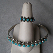 "Matching Sterling & Turquoise ""Snake Eye"" Bracelet and Ring"