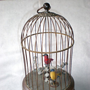 Magnificent German Automaton with Two Birds in a Cage