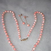Gorgeous Angel Skin Coral Necklace with Matching Earrings