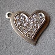 Stunning 14k White Gold and Diamond Heart Charm for Bracelet