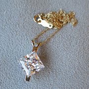 Beautiful 14k Gold and Princess Cut Cubic Zirconia Pendant