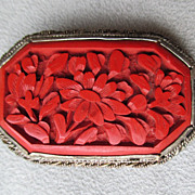 Vintage Chinese Cinnabar Pin or Clip