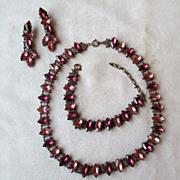 Vintage Rhinestone Parure - Necklace, Bracelet< Earrings