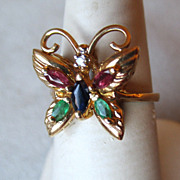 10k Gold Butterfly Ring with Emeralds, Sapphires, & Diamond