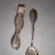 835 Silver Filigree Spoon & Sugar Tongs