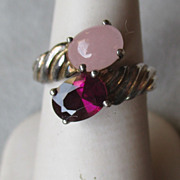 Sterling Silver with Rose Quartz and Rodolite Ring