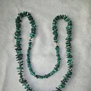 Long Polished Malachite Stone Necklace