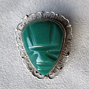 Carved Mexican Pin / Pendant with Green Stone
