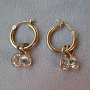 14k Gold and CZ Dangle Earrings