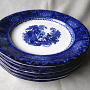 Set of 6 Watteau Flow Blue Plates