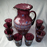 Enamel Amethyst Glass Pitcher with 8 Glasses