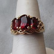 14k Filigree Gold and Three Stone Garnet Ring