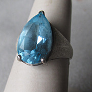 Sterling Silver and Teardrop Blue Zircon Ring