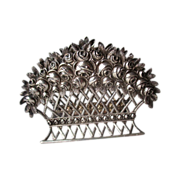 "800 German Silver Repousse ""Rose"" Napkin Holder"