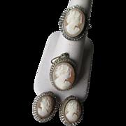 800 Silver Cameo Set - Ring, Pendant, Earrings