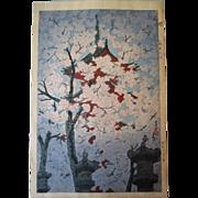 Early Shiro Kasamatsu Woodblock Print - Ueno Toshogu Shrine