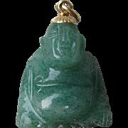 Great 14k Gold, and  Green Jade Buddha Pendant