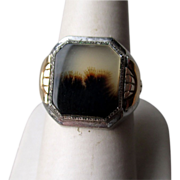 Sterling Silver and Moss Agate Ring