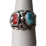 Vintage Hand Made Native Turquoise and Coral Ring
